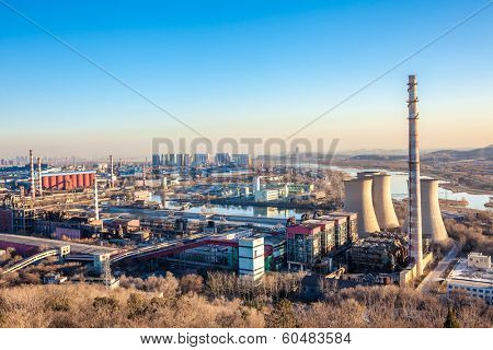 Chimney of heavy industry factory in Beijing