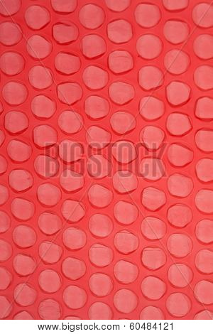 red polyethylene package with bubbles