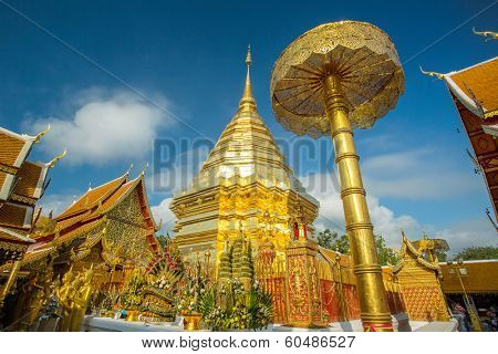 Golden chedi (stupa) and umbrella in Wat Phra That Doi Suthep temple, Chiang Mai, Thailand