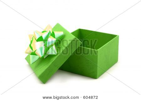 Green Gift Box With Big Ribbon
