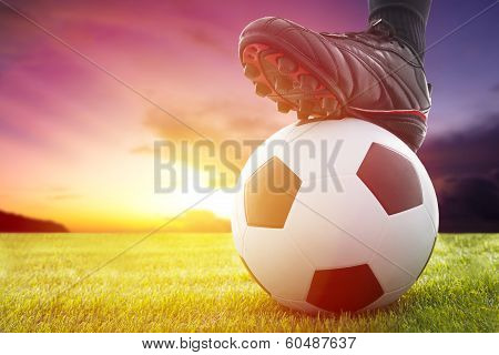 Football Or Soccer Ball At The Kickoff Of A Game