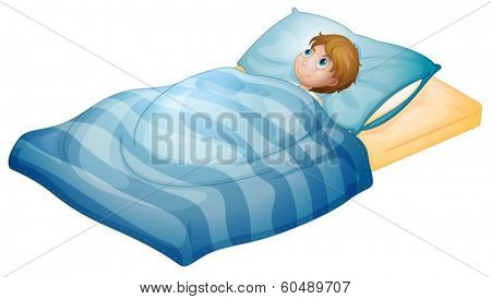 Illustration of a boy lying in his bed on a white background