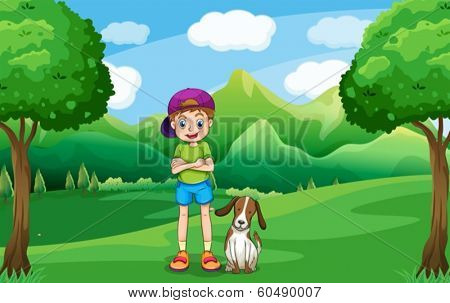 Illustration of a young boy standing in the middle of the trees with his pet