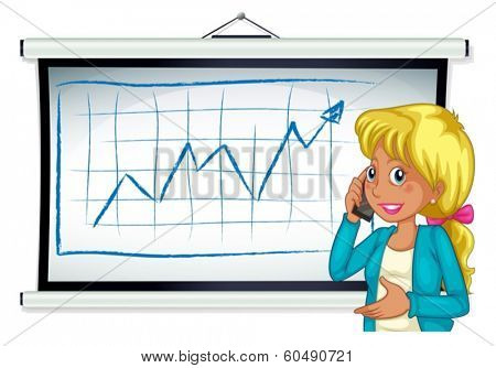Illustration of a girl using her cellular phone in front of the bulletin board on a white background