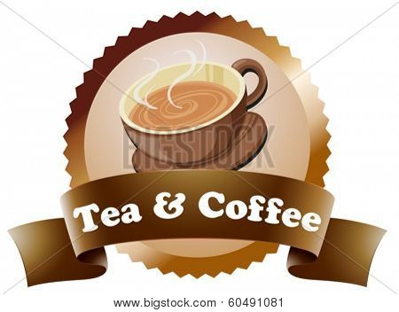 Illustration of a coffee and tea label on a white background