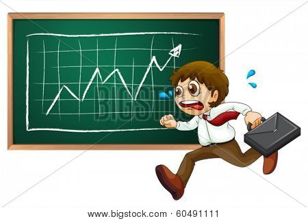 Illustration of a businessman running hurriedly in front of the blackboard on a white background