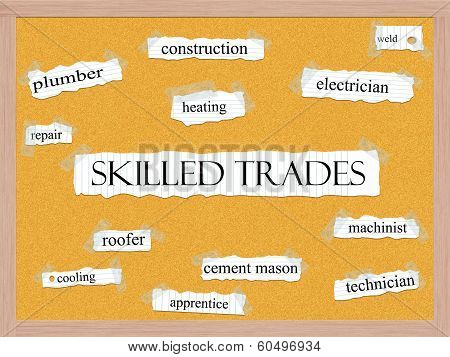Skilled Trades Corkboard Word Concept