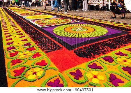 Colorful Holy Week Carpet In Antigua, Guatemala