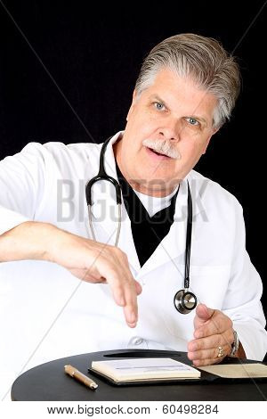 Handsome Blue Eyed Mature Medical Doctor Consulting  Patient