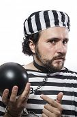 Solution, one caucasian man prisoner criminal with chain ball and handcuffs in studio isolated on wh