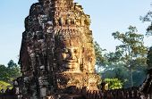 Stone face at Bayon Temple at Angkor Wat,Cambodia
