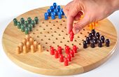pic of chinese checkers  - chinese checkers and wood board - JPG