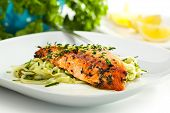 picture of salmon steak  - Salmon Steak with Zucchini Noodles - JPG