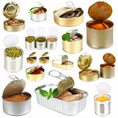 foto of hermetic  - Collage of tin cans with food isolated on white - JPG