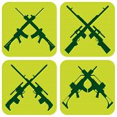 image of uzi  - vector collection of weapons  - JPG