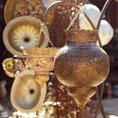 Moroccan glass and metal lanterns lamps in Marrakesh souq poster