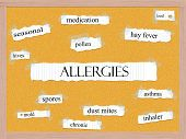 foto of mites  - Allergies Corkboard Word Concept with great terms such as pollen mold hives and more - JPG