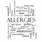stock photo of rhinitis  - Allergies Word Cloud Concept in black and white with great terms such as food pollen mold and more - JPG