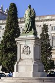 Lisbon, Portugal, December 02, 2013: King Dom Carlos I bronze statue  in Ajuda National Palace. 19th