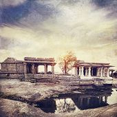 picture of vijayanagara  - Ancient ruins of Vijayanagara Empire at sunset sky in Hampi Karnataka India - JPG