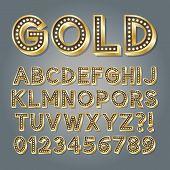 picture of broadway  - Golden 3D Broadway Alphabet And Numbers - JPG