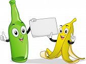 foto of segregation  - Board Illustration Featuring a Banana and Bottle Mascot Holding a Blank Piece of Paper - JPG