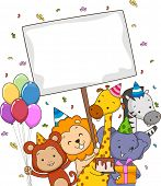 picture of safari hat  - Board Illustration Featuring Safari Animals Carrying Different Party Supplies - JPG