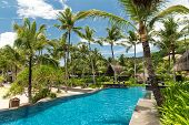 stock photo of boracay  - Swimming pool in luxury resort Boracay Philippines - JPG
