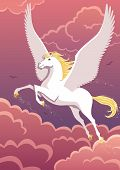 stock photo of winged-horse  - The winged horse Pegasus soaring in the sky - JPG