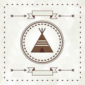 stock photo of wigwams  - Ethnic background with wigwam in navajo design - JPG