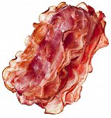 pic of crisps  - Stack of Bacon Fried Crisp Slices isolated On White Background - JPG