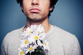 stock photo of rejection  - Sad And Rejected Man With A Bouquet Of Flowers - JPG