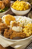 foto of southern fried chicken  - Homemade Southern Fried Chicken with Biscuits and Mashed Potatoes