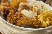 image of southern fried chicken  - Homemade Southern Fried Chicken with Biscuits and Mashed Potatoes