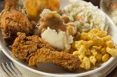 stock photo of southern fried chicken  - Homemade Southern Fried Chicken with Biscuits and Mashed Potatoes