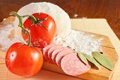 stock photo of salami  - pizza ingredients - JPG
