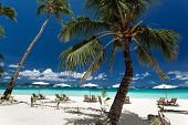 stock photo of beachfront  - Sun umbrellas and chairs on tropical beach Philippines Boracay - JPG
