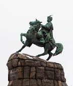 stock photo of bohdan  - Historic monument to Hetman Bogdan Khmelnitsky on Sofia square in Kiev Ukraine - JPG