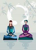 stock photo of samadhi  - Two Women Meditating sitting in the lotus position practicing silent meditation - JPG