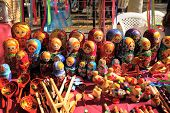 Russian nested dolls matryoshka at the fair