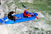 image of rafters  - Rafters ride the class three rapids of Rio Pejibaye - JPG