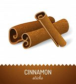 image of cinnamon sticks  - Cinnamon sticks over white background - JPG