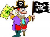image of peg-leg  - Cartoon illustration of a pirate holding a flag and map - JPG