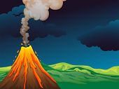 picture of landforms  - Illustration of a volcano - JPG