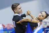 Minsk-belarus, February, 9: Unidentified Dance Couple Performs Youth-2 Standard Program On Ogni Stol