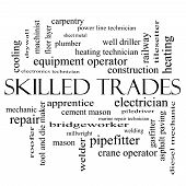 stock photo of pipefitter  - Skilled Trades Word Cloud Concept in black and white with great terms such as plumber welding mason and more - JPG
