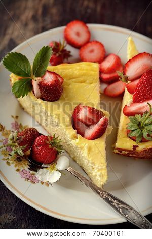 cheese cake  on wooden table. Selective focus