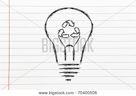 Lightbulb With Recycle Symbol Instead Of Filament