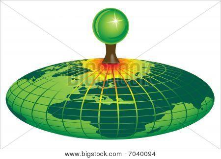 eco green globe, earth