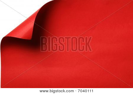 Red paper with curled corner